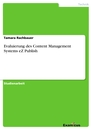 Title: Evaluierung des Content Management Systems eZ Publish