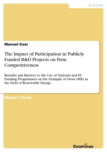 Title: The Impact of Participation in Publicly Funded R&D Projects on Firm Competitiveness