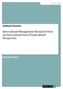 Title: Intercultural Management Research From An Intercultural And A Transcultural Perspective
