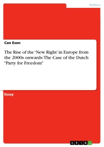 "Titel: The Rise of the 'New Right' in Europe from the 2000s onwards: The Case of the Dutch ""Party for Freedom"""