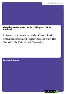 Title: A Systematic Review of the Causal Link between Stress and Hypertension with the Use of Hills Criteria of Causation