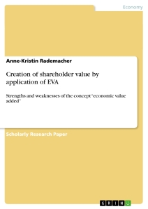 Title: Creation of shareholder value by application of EVA
