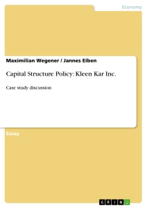 Title: Capital Structure Policy: Kleen Kar Inc.