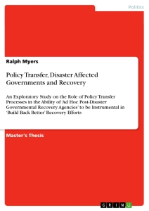 Title: Policy Transfer, Disaster Affected Governments and Recovery