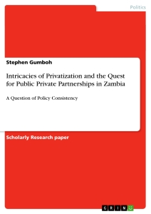 Titel: Intricacies of Privatization and the Quest for Public Private Partnerships in Zambia