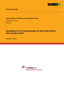 Title: Development of a marketing plan for the South African solar energy market