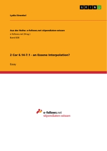 Titel: 2 Cor 6.14-7.1 - an Essene Interpolation?