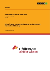 Title: Role of Home Country Institutional Environment in International Strategy