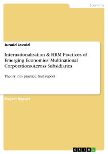 Title: Internationalisation & HRM Practices of Emerging Economies' Multinational Corporations Across Subsidiaries
