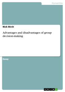 Title: Advantages and disadvantages of group decision-making