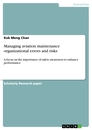 Title: Managing aviation maintenance organizational errors and risks