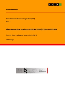 Title: Plant Protection Products: REGULATION (EC) No 1107/2009