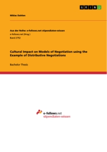 Title: Cultural Impact on Models of Negotiation using the Example of Distributive Negotiations