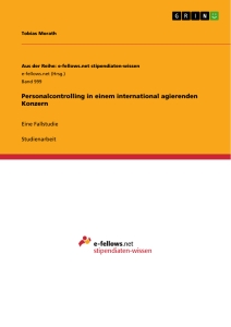 Titel: Personalcontrolling in einem international agierenden Konzern