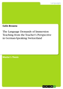 Title: The Language Demands of Immersion Teaching from the Teacher's Perspective in German-Speaking Switzerland