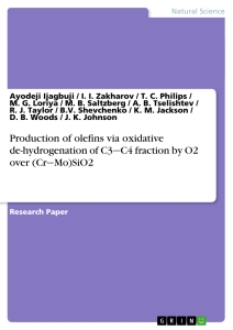 Title: Production of olefins via oxidative de-hydrogenation of C3‒C4 fraction by O2 over (Cr‒Mo)SiO2