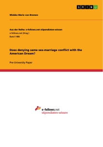 Titel: Does denying same sex-marriage conflict with the American Dream?