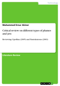 Title: Critical review on different types of plumes and jets