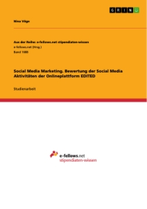 Title: Social Media Marketing. Bewertung der Social Media Aktivitäten der Onlineplattform EDITED