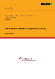 Title: Critical Analysis Of The Financing Policies of Tesco plc