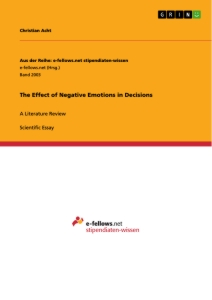 Titel: The Effect of Negative Emotions in Decisions