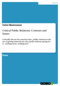 Title: Critical Public Relations. Contexts and Issues