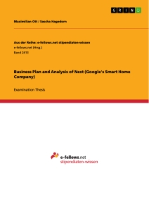 Titel: Business Plan and Analysis of Nest (Google's Smart Home Company)