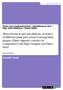Title: Phytochemical and anti-diabetic activities of different plant part extracts among black pepper (Piper nigrum) varieties in comparison with Piper longum and Piper betel