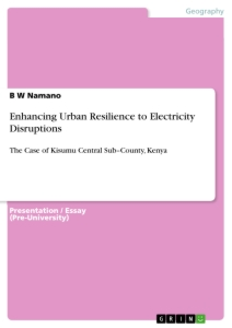 Title: Enhancing Urban Resilience to Electricity Disruptions