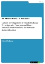 Title: Certain Investigations on Transform Based Techniques in Palmprint and Finger Knuckle-Print Biometrics for Personal Authentification
