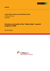 """Title: Structure and results of the """"Globe Study"""" research program in 2004"""