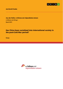 Title: Has China been socialized into international society in the post-Cold War period?