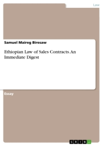 Title: Ethiopian Law of Sales Contracts. An Immediate Digest