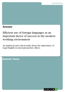 Title: Efficient use of foreign languages as an important factor of success in the modern working environment