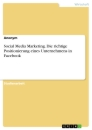 Title: Social Media Marketing. Die richtige Positionierung eines Unternehmens in Facebook