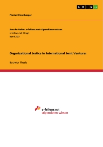 Title: Organizational Justice in International Joint Ventures