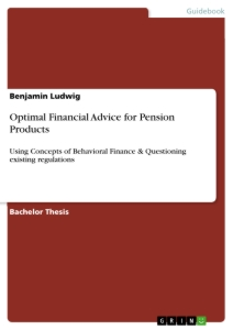 Title: Optimal Financial Advice for Pension Products