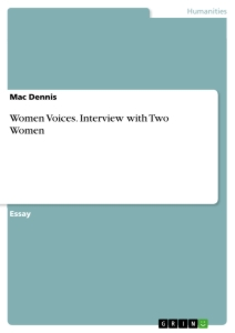 Title: Women Voices. Interview with Two Women
