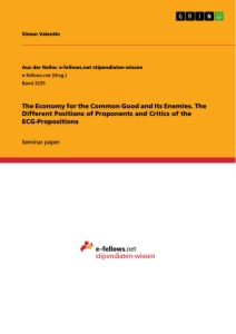 Titel: The Economy for the Common Good and Its Enemies. The Different Positions of Proponents and Critics of the ECG-Propositions