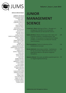 Titel: Junior Management Science, Volume 1, Issue 1, June 2016