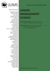 Titel: Junior Management Science, Volume 2, Issue 2, September 2017