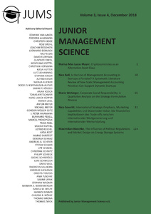 Title: Junior Management Science, Volume 3, Issue 4, December 2018