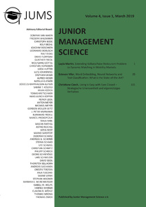 Title: Junior Management Science, Volume 4, Issue 1, March 2019