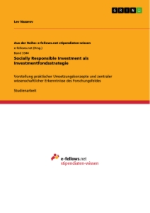 Titel: Socially Responsible Investment  als Investmentfondsstrategie
