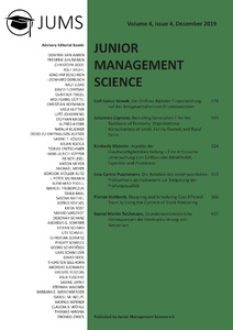 Title: Junior Management Science, Volume 4, Issue 4, December 2019