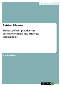 Title: Evidenced best practices in Entrepreneurship and Strategic Management