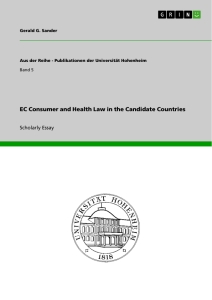 Title: EC Consumer and Health Law in the Candidate Countries