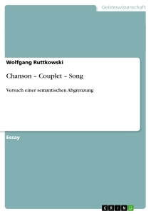 Titel: Chanson – Couplet – Song