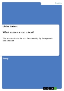 Titel: What makes a text a text?