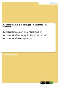 Title: Repatriation as an essential part of  intercultural training in the context of intercultural management